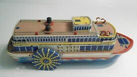 vintage 50 s tin steam show boat paddle