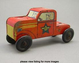vintage walt reach usa tin litho red truck