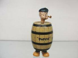 1932 j popeye in the barrel tin wind up toy