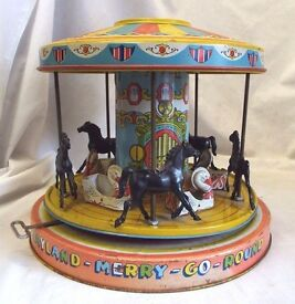 vintage 1950s j playhouse merry go round tin
