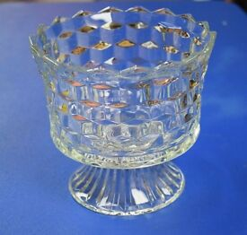 vintage homco clear glass lady love compote