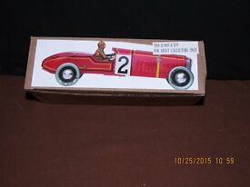 tin toy mechanical wind up red race car new