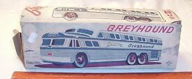 greyhound bus tin friction toy made in japan