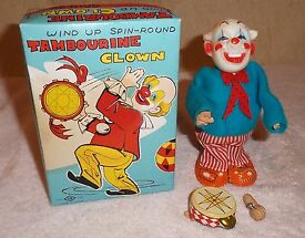 vintage tn japan tambourine clown wind up