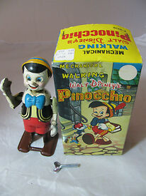 vintage mechanical walking pinocchio by