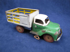 vintage mechanical stake bed wind up truck
