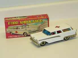 vintage tin japan haji ambulance ford car in