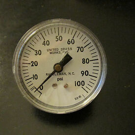 pressure gauge 0 to 100 psig with 2 1 2 face
