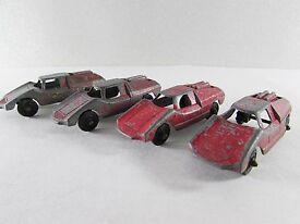 vintage red fiat abarth tootsie toy set of 4