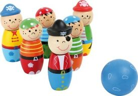 6 wooden pirate skittles kids indoor bowling
