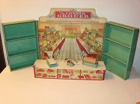 1930s 40s tin litho toy corner grocery store