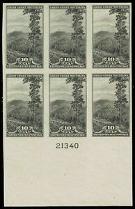 #765 BOTTOM PB 1935 10c NATIONAL PARKS FARLEY ISSUE MINT NH NO GUM AS ISSUED