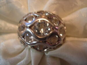 Sterling Silver White Topaz Dome Ring - Size 6 - 5+ carats of Topaz