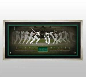 Keith Miller Hand Signed & Framed Limited Edition Time Lapse Lithograph  Bradman