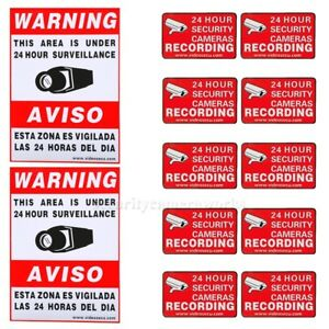 12 Home CCTV Surveillance Security Camera Video Sticker Warning Decal Signs bkg