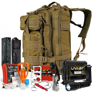LIVABIT SOS Bug Out 3 Day Backpack First Aid Kit Emergency Survival Gear Tan