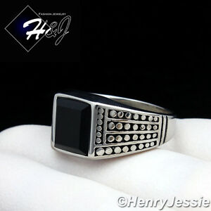 MEN#x27;s Stainless Steel Black Square Onyx Silver Black Ring Size 7 13*R20 $13.99