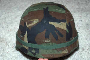 US ARMY ISSUE PASGT KEVLAR HELMET WITH WOODLAND CAMO COVER - MEDIUM