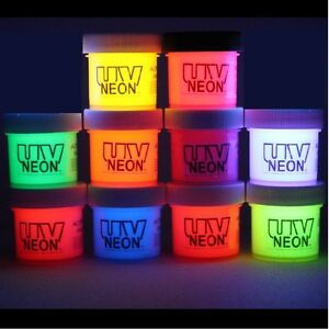 NEON  GRAFFITI ART  DRAMA BLACK LIGHT PAINTS 10x1/2 oz FREE MEDIUM + UV KEYCHAIN