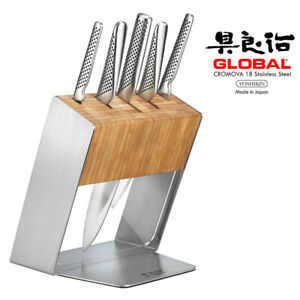 New Global KATANA 6pc Stainless Steel Knife Block Set Knives Chef Cook Utility P