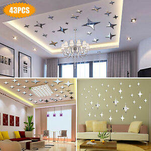 43PCS 3D Wall Stickers Home Decor DIY Art Mirror Star Decal Bedroom Removable US