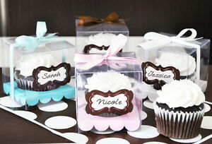 Clear Cupcake Box Wedding Favors with Labels & Ribbons (Personalized Option)