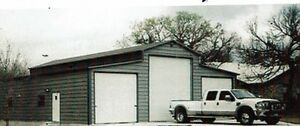 42' x 40' Fully Enclosed Garage with 14' leg - 12x12 roll-up in center