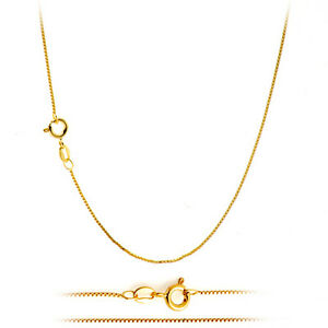 18K Gold Plated Classic Italian Thin Box Chain Necklace for Pendants ALL SIZES
