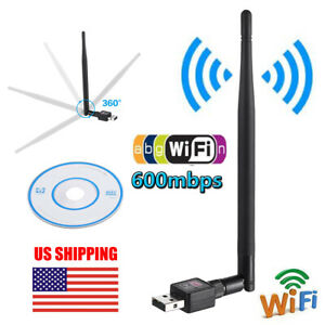 600Mbps USB WiFi Adapter Dongle Wireless Network Card For Laptop PC w Antenna