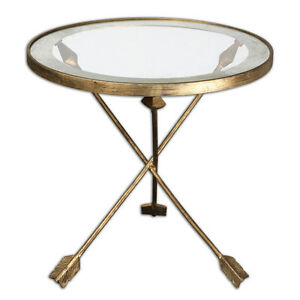 "Hollywood Regency Modern Antique Gold Metal Iron Glass Arrow Accent Table 20""D"