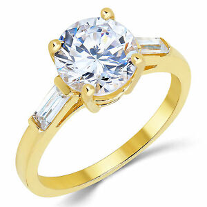 14K Solid Yellow Gold CZ Cubic Zirconia Solitaire Engagement Ring 1.9 Ct.