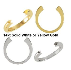 14K Solid White Yellow Gold 34 Flat End Band Half Round Open Shank Ring Finding
