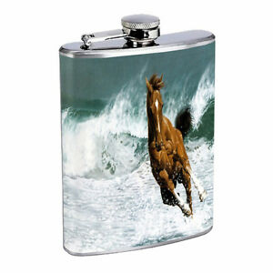 Horse Flask D6 8oz Stainless Steel Pony Mustang Thoroughbred Mare Colt Stallion