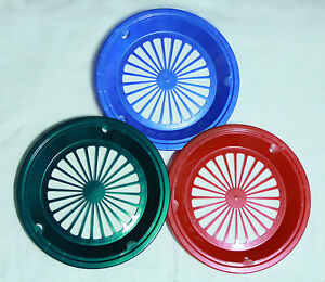6 GREEN, RED, and BLUE PAPER PLATE HOLDERS, PICNIC, BBQ,  PARTIES,