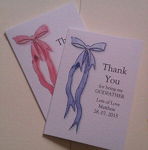 PACK OF 3 THANK YOU GODMOTHER OR GODFATHER CARDS PERSONALISED BLUE OR PINK