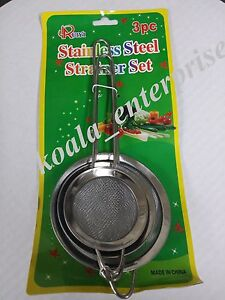 3 Pcs Stainless Metal Fine Mesh Strainers Sieve with Handle Kitchen Ware 3 Sizes