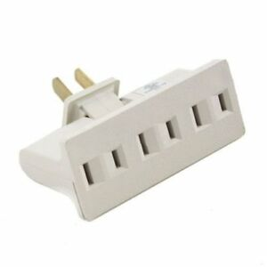 3 Outlet Grounded AC Power 2 Prong Swivel Light Wall Tap Adapter UL Listed Beige $4.99