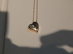 LADIES 14K YG PUFFED  FLOATING DIAMOND HEART NECKLACE