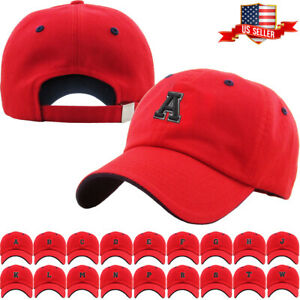 ABC Letter Embroidery INITIAL Red Dad Hat Baseball Cap Adjustable