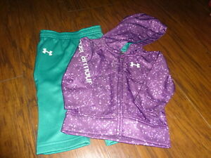 UNDER ARMOUR 3-6 PURPLE STAR DOT ZIPPERED HOODIE PANT SET
