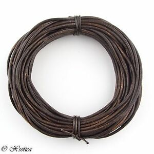 Brown Antique Round Leather Cord 1mm 10 meters 11 yards