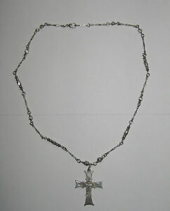 Roman Paul Designed Silver Cross Pendant Beaded Necklace Stamped