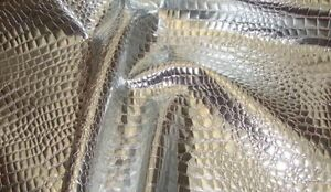 faux vinyl upholstery leather fake Crocodile 54quot; Wide Silver fabric sold ROLLED