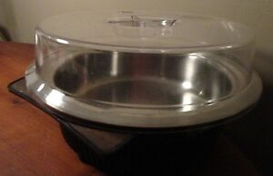 VINTAGE STAINLESS STEEL SERVING BOWL WITH HOLDING POT AND PLASTIC LID