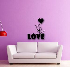 Wall Stickers Vinyl Decal Puppy Love Dog Balloon Romantic Gift (ig290)