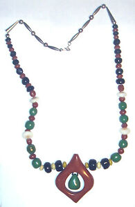 ANTIQUE Sterling 925 SOUTHWESTERN Hand Made CLAY MOP BEAD 31 OLD PAWN NECKLACE $75.00