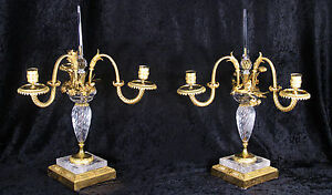 Antique Pair french Dore Bronze Rock Crystal Three Light Candelabras
