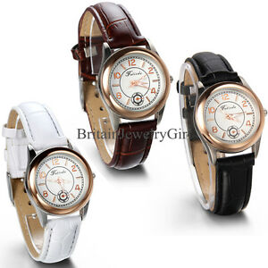 New Fashion Classic Leather Band Round Dial Analog Quartz Women Wrist Watch