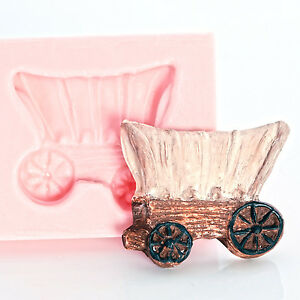 Silicone Mold - Western wagon fondant mold for cupcake toppers or jewelry  (931)