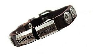 New Diesel Genuine Leather Men & Women Bracelet Dark Brown